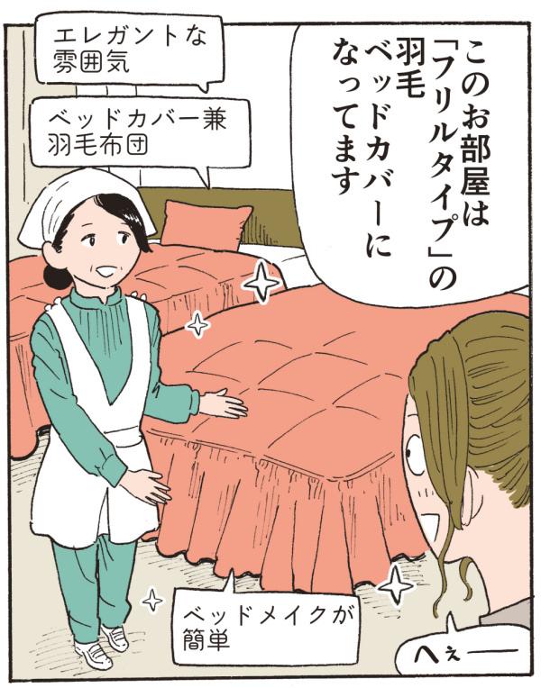 このお部屋は「フリルタイプ」の羽毛ベッドカバーになっております。(エレガントな雰囲気、ベッドカバー兼 羽毛布団、ベッドメイキングが簡単)へぇ~っ!!