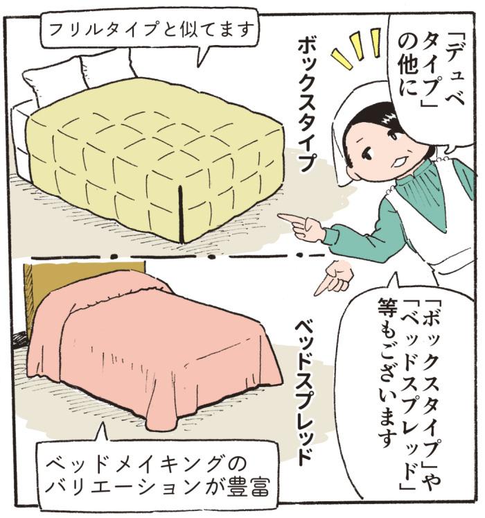 「デュベタイプ」の他に、「ボックスタイプ」や「ベッドスプレッド」等もございます。(「ボックスタイプ」は「フリルタイプ」と似てます。「ベッドスプレッド」はベッドメイキングのバリエーションが豊富)