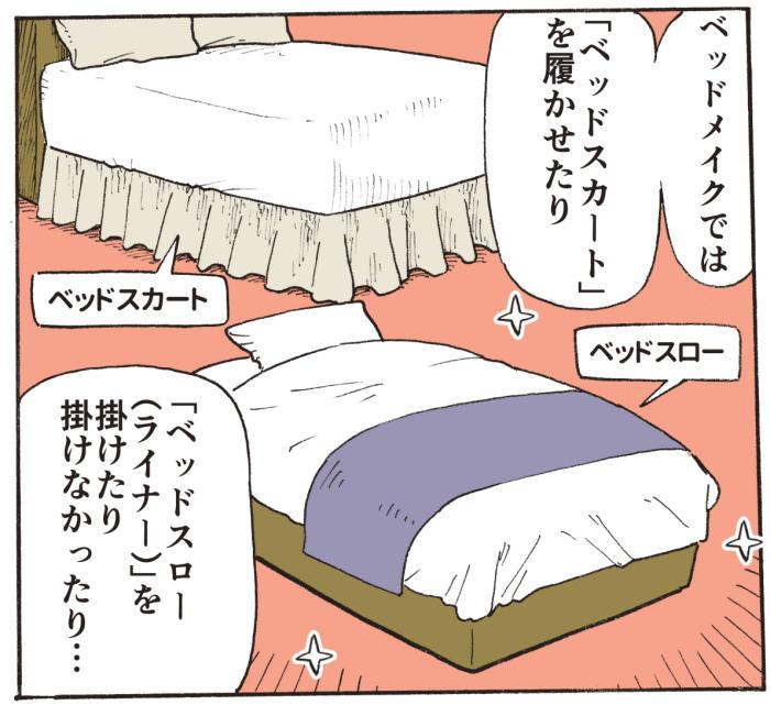 ベッドメイクでは、「ベッドスカート」を履かせたり、「ベッドスロー(ライナー)」を掛けたり掛けなかったり・・・